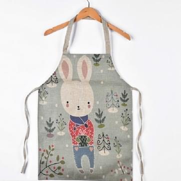 Cartoon dier antifouling katoen linnen keuken ouder-kind cartoon mouwloos schort  grootte: 40x48 cm (exclusief halter hals)  stijl: Bunny
