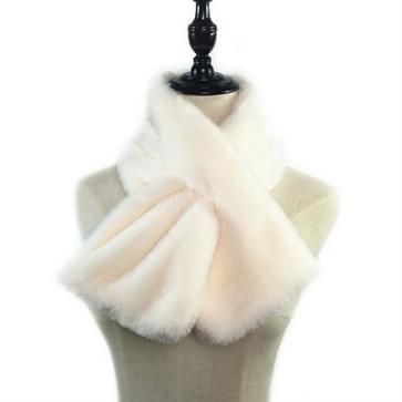 Vrouwen Winter Dikker Pluche Faux Rabbit Bont Sjaal Solid Color Warmer Neckerchief  Size:96 x 15cm (Wit)