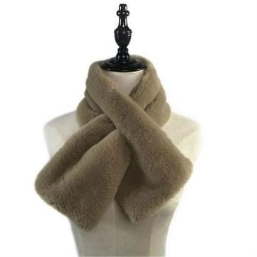 Vrouwen Winter Dikker Pluche Faux Rabbit Bont Sjaal Solid Color Warmer Neckerchief  Size:96 x 15cm (Khaki)