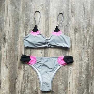 Vrouwen sexy Braziliaanse bikini patchwork badpak  maat: L (grijs)