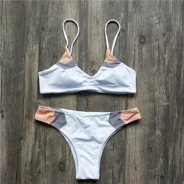 Women Sexy Brazilian Bikini Patchwork Swimsuit  Size:S(WHITE)