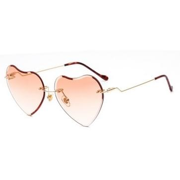 Mode metalen Frameless hart zonnebril zonnebril kleurrijke Film dames Sunglasses(Orange)