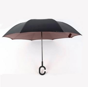 Hands-free Reverse Double-layer Straight Pole All-weather Umbrella  Size:23 Inch(Brown)