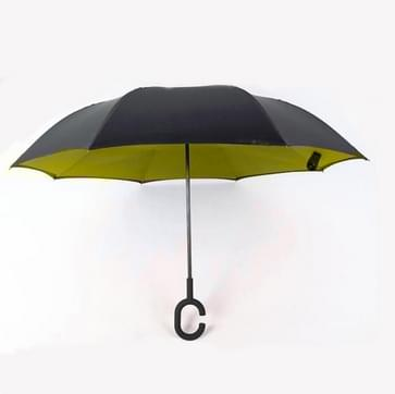 Hands-free Reverse Double-layer Straight Pole All-weather Umbrella  Size:23 Inch(Light Yellow)