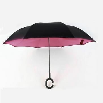 Hands-free Reverse Double-layer Straight Pole All-weather Umbrella  Size:23 Inch(Pink)