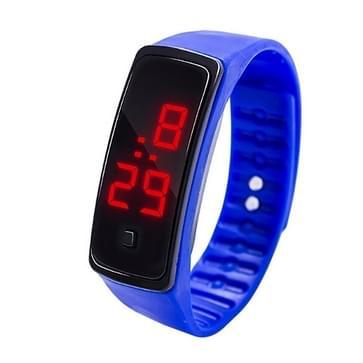 LED digitale display siliconen armband kinderen elektronische horloge (blauw)