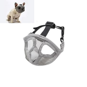 Pet Bulldog Mouth Cover Mask Pet Supplies  Full Net Cover Versie  Size:XXS (Grijs)