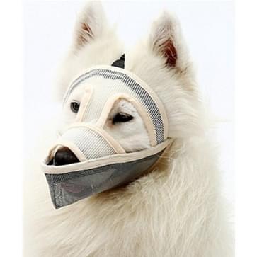 Kleine en middelgrote long-mouth dog mouth cover teddyhond masker  grootte: L (Crème-gekleurd)
