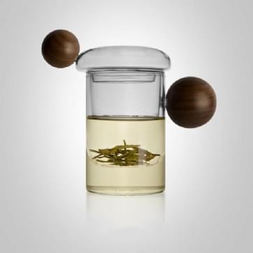 Hoge Borosilicate Hittebestendige Glazen Houten Bal Handvat Thee Cup  Style: Jupiter Cup 7A