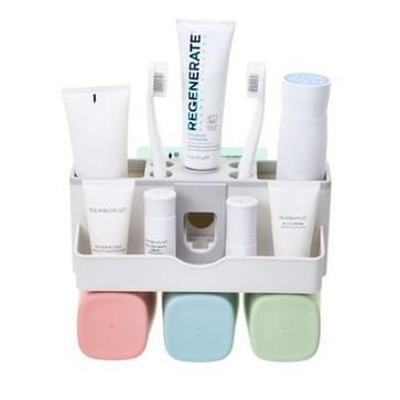 Wandmontage Lazy Simple automatische tandpasta tandenborstel houder set  specificatie: familie van drie