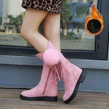 Soild Color Winter Tall Tube Plus Velvet Ball Plush Little Girl Princess Boots  Size:29(Thin Cotton Thick Fleece Pink)