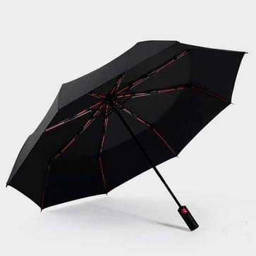 Mannen WindWeerstand Tri-fold 10 Bone Fiber Skeleton Automatic All-weather Umbrella(Black)