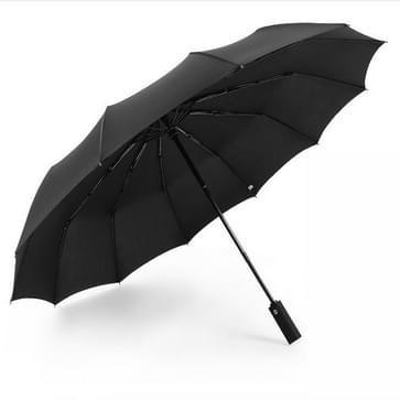 Extra grote versterkte 12 bone automatische dubbele vouwen regen en zonnige dual-use Umbrella Persoonlijkheid en creativiteit (Zwart)