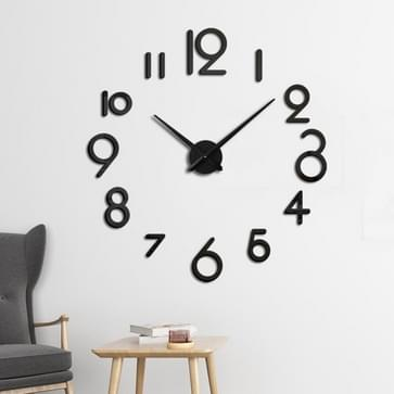 Creatieve DIY Acryl Klok Home Digital Wall Clock (Zwart)