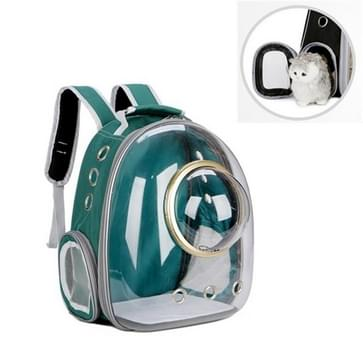 Space Capsule Pet Bag Panoramische transparante kat go out draagbare ademende rugzak met cover (Inkt groen)