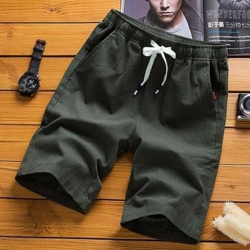 Cotton Linen Casual 5-punts Sport Shorts Pants  Maat: XL (Army Green)