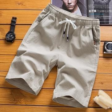 Cotton Linnen Casual 5-punts Sport Shorts Pants  Maat: XXXL(Khaki)