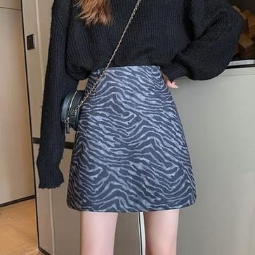 Hoge taille Zebra Patroon Temperament Wild A-Line Rok  Grootte: L (Grijs Blauw)