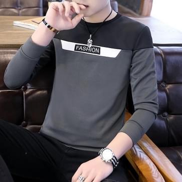 Long Sleeve Round Neck Sweatershirt Bottoming Shirt  Maat: XXL(Grijs)