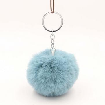 Eenvoudige sleutel ketting bont bal Pompon sleutelhanger Pompom kunstmatige konijn vacht dier sleutelhangers voor vrouw auto tas sleutelhangers (lake blauw)