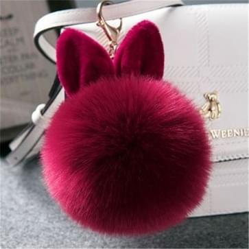 Bont pom sleutelhangers nep konijn Fur Ball sleutelhanger (wijn rood)