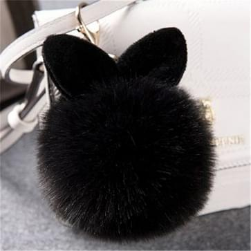 Bont pom sleutelhangers nep konijn Fur Ball sleutelhanger (zwart)