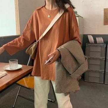 T-shirt met lange mouwen effen basisshirt Trendy Outer Wear Loose Top  Maat: XL(Oranje)