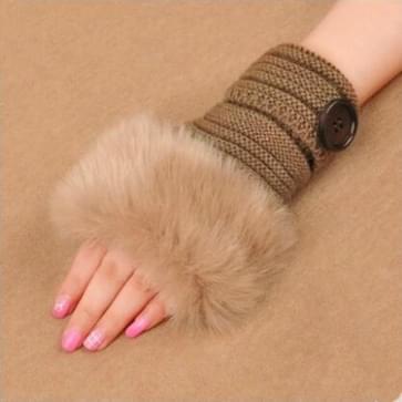 Mode vrouwen faux konijn bont hand pols haak gebreide Vingerloze handschoenen breien wanten winter herfst warmer (Camel knop ontwerp)