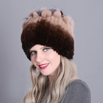 Rex Konijnenbont geweven vrouwelijke modellen leder warm verdikking kleurrijke gebreide hoed (color1)