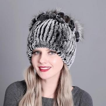 Rex Konijnenbont geweven vrouwelijke modellen leder warm verdikking kleurrijke gebreide hoed (kleur2)