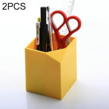 2 PCS plastic penhouder multifunctionele kantoorbenodigdheden (geel)