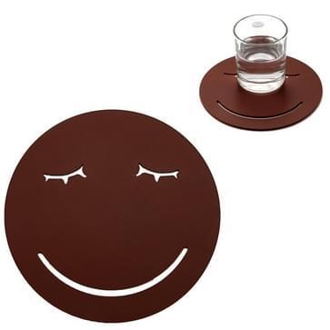 3 PCS Smile Face Expression Shape Food Grade Siliconen Placemat Huishoudelijke Isolatie Pad Cartoon Expressie Non-Slip Tafel Mat Magnetron Verwarming Pad (Bruin)