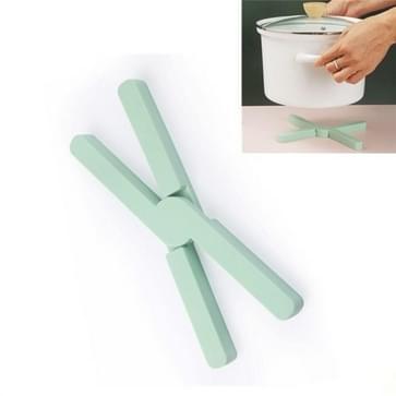 2 PCS Verdikt x-vormig Siliconen opvouwbare potmat keuken warmte-isolatie maaltijd coaster hoge temperatuur tafelmat(groen)