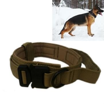 Nylon verdikt grote en middelgrote hond tractie halsband pet kraag  grootte: M (Khaki + Zwarte knop)