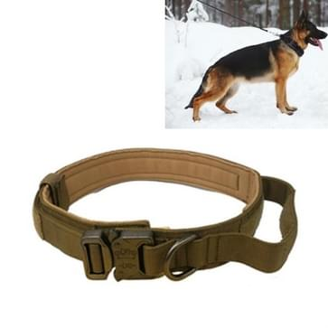 Nylon verdikt grote en middelgrote hond tractie halsband pet kraag  grootte: L (Kaki + Licht knop)