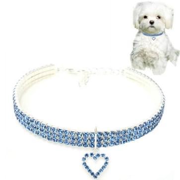 2 PCS Pet Supplies Elastic Love Cats and Dogs Accessoires Pet Collars  Size:S(Blue)