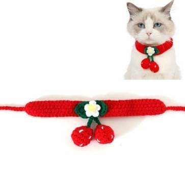 3 PCS Pet Handgemaakte wol kersen kat halsband bib verstelbare ketting  specificatie: M 25-30cm (rood)