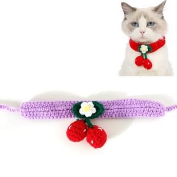 3 PCS Pet Handgemaakte wol kersen kat halsband bib verstelbare ketting  specificatie: M 25-30cm (Paars)