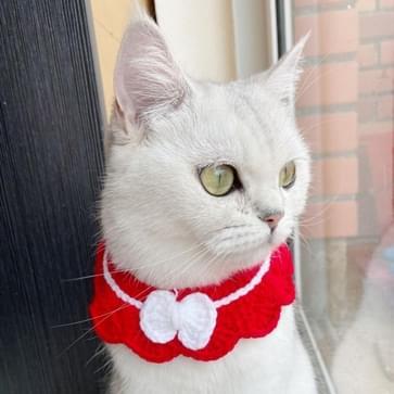 3 PC's handgemaakte wollen breien verstelbare Flower Bow Cat Dog Bib Accessoires Kraag  Grootte: S 20-28cm (Rood)