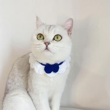 3 PCS handgemaakte wollen breien verstelbare Flower Bow Cat Dog Bib Accessoires Kraag  Grootte: M 25-35cm (Wit)