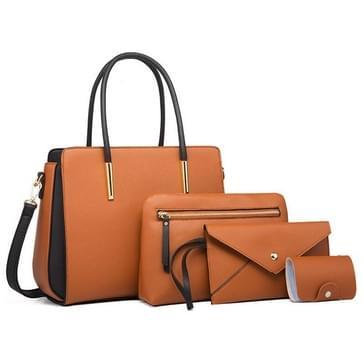 4 In 1 Fashion Color-Block Messenger Handtas Grote Capaciteit Tas (Bruin)