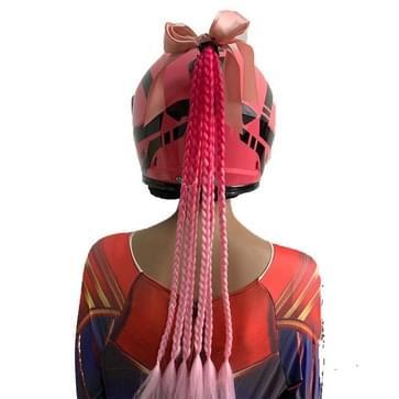 Bowknot Vlecht Hand-Geweven Gradiënt Kleur chemische vezel dirty vlecht (Perzik Rood +Roze)