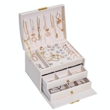 Drie-laags lederen lade type sieraden opbergdoos oorbellen doos met slot (romig wit)