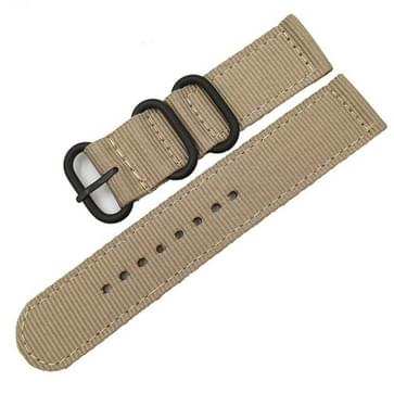 Washable Nylon Canvas Watchband  Band Width:20mm(Khaki with Black Ring Buckle)