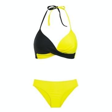 2 PCS Sexy Split Color Matching Bikini Swimsuit  Size:S(Yellow+Black)