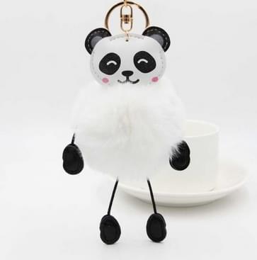 Panda Konijnenbont zachte bal Auto's pluche sleutelhangers (wit)