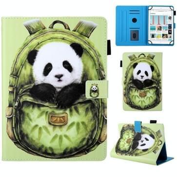 Universele schooltas serie groene Panda patroon horizontale Flip lederen case voor 7 inch Tablet PC  met houder & kaartsleuf & portemonnee
