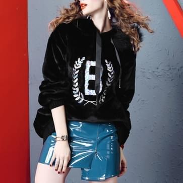 Konijn bont Beaded Fashion losse dunne dikke Sweatshirt (kleur: zwart maat: One size)