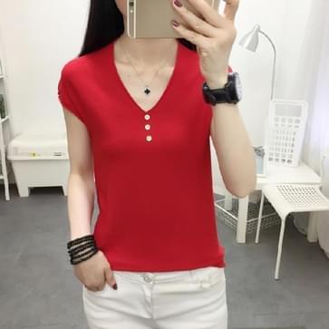 Ice Silk Gebreide T-shirt V-hals Loose Bottoming Shirt (Kleur: Rood formaat: L)