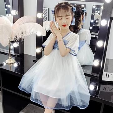 Kinderen Kleding Meisjes Fluffy Garen Jurk (Kleur: Blue Size: 120cm)